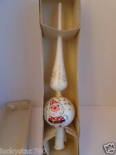 INARCO ITALY  MERCURY GLASS WHITE HAND PAINTED SANTA  XMAS TREE TOPPER RARE