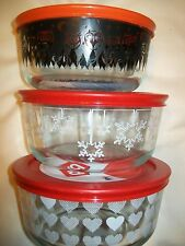 LOT of 3 Pyrex 4 Cup Bowl Halloween Valentine hearts Holiday Snowflake LIMITED