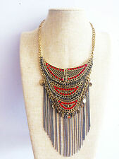 Bronze African Tribal Aztec Tassel Fringe Turkish Gypsy Bohemian Kuchi Necklace
