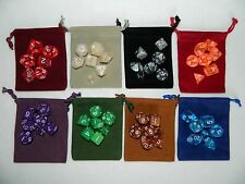 New 8 Random Complete 7pc Polyhedral Dice Sets in 8 New Bags Grab Bag RPG D&D