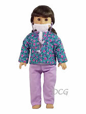 """AFW FLORAL SCRUBS W/ STETHESCOPE - PURPLE Doctor for 18"""" American Girl Doll NEW"""