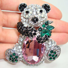Fashion Lovely Panda Pink Rhinestone Crystal Animal Brooch Pin Pendant