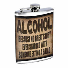 Funny Drinking Signs Hip Flask D1 8oz Stainless Steel Liquor Alcohol Whiskey