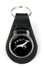 Triumph Stag Leaping Logo Quality Black Leather Keyring