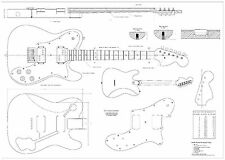 Fender tele deluxe 72 - Electric Guitar Plans Actual Size full scale drawing