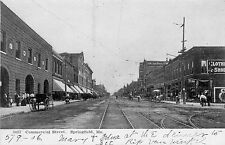 #3037. Commercial Street, Springfield, MO Undivided Back Postcard
