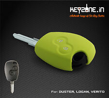 Silicone Car Key Cover fit for Renault Duster/Logan/Verito/Lodgy (Apple Green)
