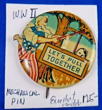 Original WWII WW2 Mechanical Lets Pull Together Pin Pinback Button 1 5/8""