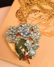 Kirks Folly Necklace Forget Me Knot Pendant Heart Locket Enamel Crystal 8Z