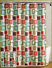 "Bathroom 70""x72"" Multicolored Squares Fabric Shower Curtain New"