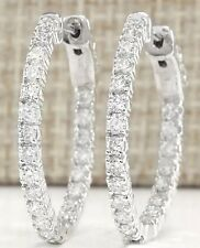 2.00CTW INSIDE AND OUT NATURAL DIAMONDS HOOP EARRINGS 14K WHITE/YELLOW GOLD