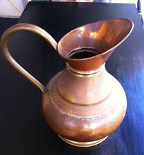 Vintage Copper & Brass Hammered  Water Jug  Pot Pitcher Antique  Copper
