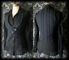 Gothic Navy Pinstripe Fitted SEDUCTIVE Corset Waistcoat 10 12 Steampunk Vintage