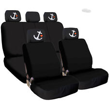 New Black Cloth Car Seat Covers Embroidery Anchor Headrest Cover for BMW