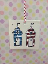 Hand Made Hanging 2 Beach Hut Plaque In Blue And Red Great Gift