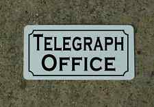 B&W TELEGRAPH OFFICE Metal Sign Vintage Pay Phone Booth Garage Shop Nickel