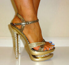 RARE Size 6 / 6.5  METALLIC GOLD SPARKLE RHINESTONE HEEL Club Stripper Dancer