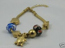 o43:New Stainless Steel Bracelet with Pandora Charms-Gold Tone