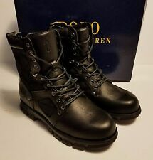 Polo Ralph Lauren Dennison Boots Black Leather Lace Up Rugged Work Size 10 D NEW