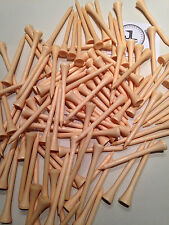 "100 JL Golf natural wooden tees 69 / 70mm long (2 3/4"") *NEW* Xmas gift  fathers"