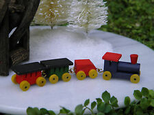 Miniature Dollhouse CHRISTMAS VILLAGE Fairy Garden ~ TINY Wood Train Set ~ NEW