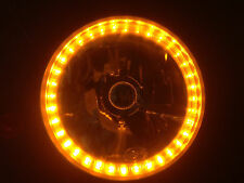 "7""  HEADLIGHT W/AMBER LED ANGEL EYES HEADLAMP HEADLIGHT Harley Davidson"