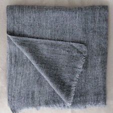 EXCLUSIVE HANDWOVEN CHARCOAL GREY 100% CASHMERE SHAWL VERY SOFT NEPAL