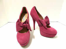 "Kelsi Dagger 5.5"" Pink Suede Leather TIFFANY Pumps w/Bow Accent Size 7M"
