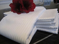 FRETTE 310TC Rigato Ara White Stripe Queen Flat Sheet Set, Beautiful Soft Feel!