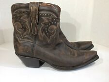 Dan Post Flat Iron Studs Women's Sz 9.5 Brown Vintage Leather Ankle Boots ZD-375