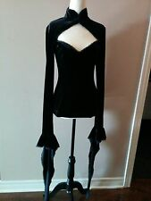 Cruella Black Velvet top very long sleeves Goth Victorian Witch Size Large