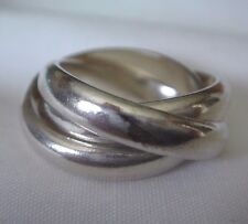Heavy Solid .925 Sterling Silver 4 mm Triple Stack Ring - 12.8 grams - Size 5.5+