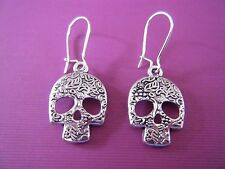 "FREE GIFT ** ANTIQUED SILVER EARRINGS Intricut Skull 1 1/2"" Long"