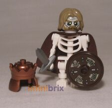 Lego Custom Skeleton King Warrior with Crown + Hair Undead Minifigure NEW cus044