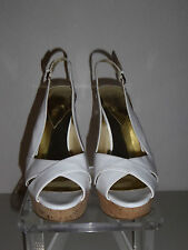 GUESS WHITE HIGH HEELS PLATFORM OPEN-TOE SLINGBACK PUMPS SIZE 9.5