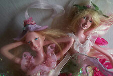 2 PIXIE FAIRY ELVES flower CHRISTMAS TREE ORNAMENT DOLLS shabby ANGELS