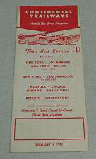 1962 Continental Trailways bus time table New York Los Angeles Chicago Dallas