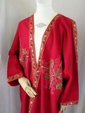 RENAISSANCE MEDEIVAL red wool embroidered cosplay long sorcerer cape robe