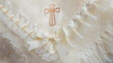 Baby Christening frilled shawl applique, embroidered name personalised free