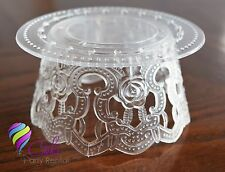 """12 pcs. Clear Cake Top Base stand 4.5"""" x 2.5"""" tall accessory/ Base Pastelera"""