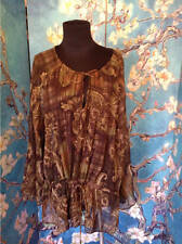 WALTER BAKER XL NEW BROWN/GREEN MIX TIE NECK SEMI-SHEER LONG SLEEVE TUNIC TOP