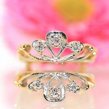 Estate 14k Yellow gold natural Diamond ring Guard for solitiare band .25ctw