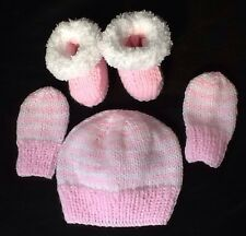Hand Knit Pink White Newborn Baby To 3 Month Hat Mittens & Snuggly Boot ees