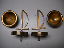 Antique Set Pair Brass Church Holy Water Fonts Catholic Altar Mass Chapel Small