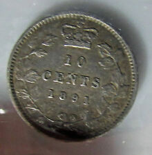 Canada 1891 10 Cents    Silver Dime Variety 22  Leaves
