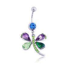 Newest Colorful Rhinestone Dragonfly Body Piercing Navel Belly Button Ring Bar
