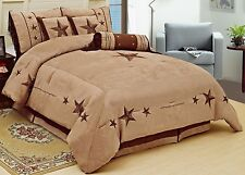 WESTERN Oversize Camel Taupe Lone Star Micro Suede King Comforter Set Bedding