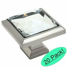 *20 Pack* Cosmas 5883SN-C Satin Nickel & Clear Glass Square Cabinet Knob