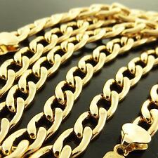 167 GENUINE REAL 18K YELLOW GOLD G/F SOLID MENS LADIES RETRO LINK NECKLACE CHAIN