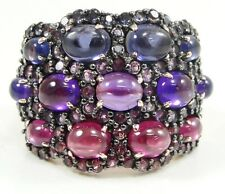 14K Rose Gold Amethyst Brazilian Blush Garnet Iolite Ring Domed Band Size 7 QVC